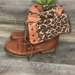 Charlotte Russ Laced Tiger Print Boots Size 8